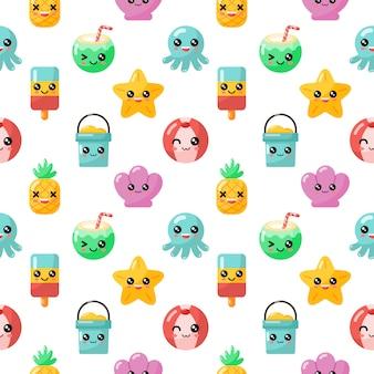 Colección de personajes de verano de dibujos animados kawaii de patrones sin fisuras aislada