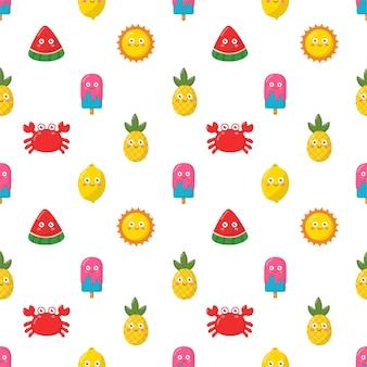 Colección de personajes de verano de dibujos animados kawaii de patrones sin fisuras sobre fondo blanco.