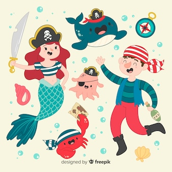 Colección personajes vida marina dibujados a mano