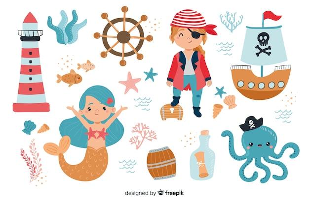 Colección de personajes de la vida marina.