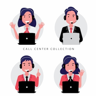 Una colección de personal del centro de llamadas o servicio al cliente que incluye a una mujer y un hombre sentados frente a la computadora