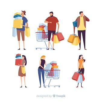 Colección de personas cargando bolsas de la compra.