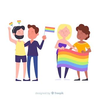 Colección de personas celebrando el orgullo lgbt