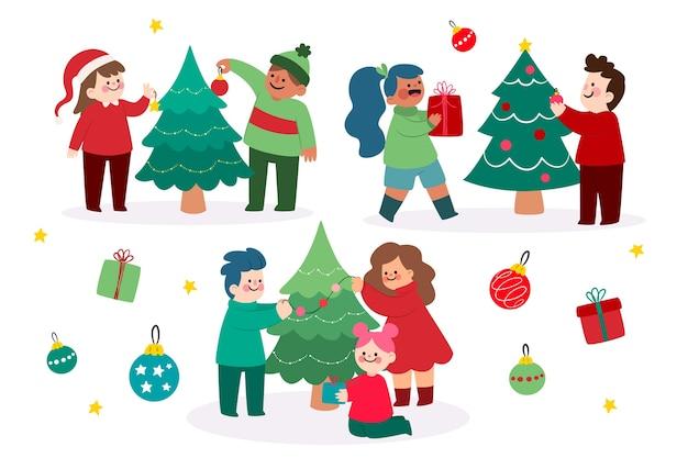 Colección de personas decorando el árbol de navidad