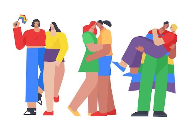 Colección de personas del día del orgullo plano orgánico