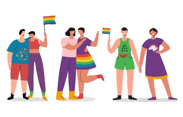 Colección de personas del día del orgullo