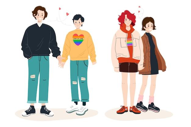 Colección personas dibujadas a mano del día del orgullo
