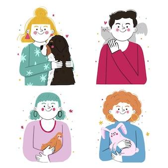 Colección personas dibujadas a mano con mascotas