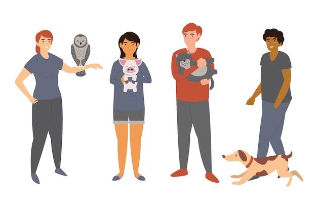 Colección de personas con diferentes mascotas.