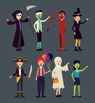 Colección de personas disfrazadas
