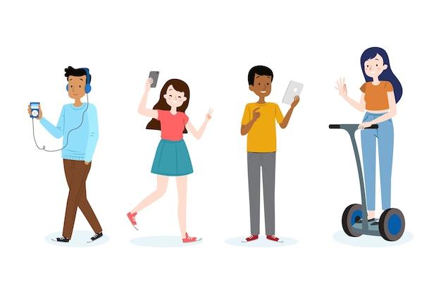 Colección de personas con dispositivos.