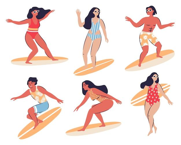 Colección de personas felices con surf aislado en blanco