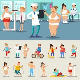 Colección de personas gordas perdiendo peso