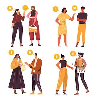 Colección personas hablando planas dibujadas a mano
