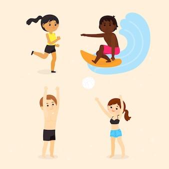Colección de personas haciendo deportes de verano.