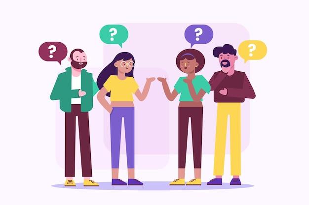Colección personas haciendo preguntas dibujadas a mano