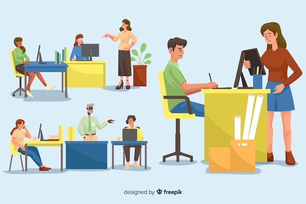 Colección de personas ilustradas que trabajan en sus escritorios.