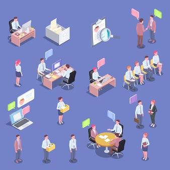 Colección de personas isométricas de reclutamiento de personajes humanos aislados de solicitantes de empleo y entrevistadores con ilustración de burbujas de pensamiento