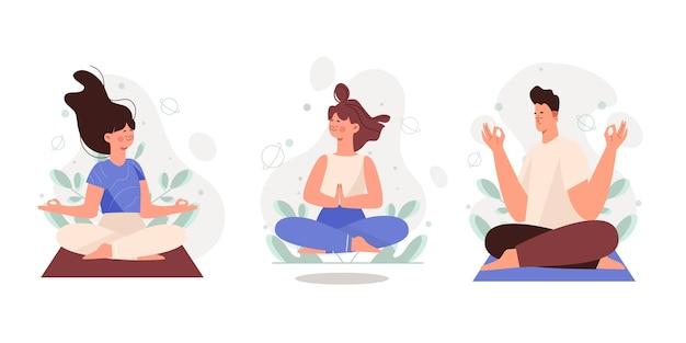Colección de personas meditando planas orgánicas.