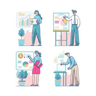 Colección de personas de negocios dibujados a mano