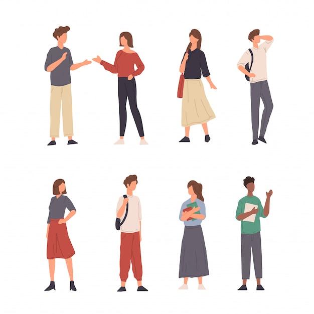 Colección de personas personaje ilustración haciendo diversas actividades en diseño plano