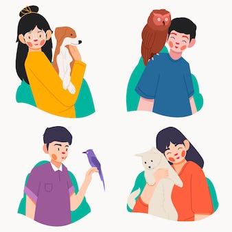 Colección de personas planas con mascotas.