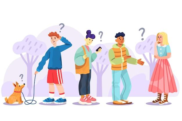 Colección de personas planas orgánicas haciendo preguntas.