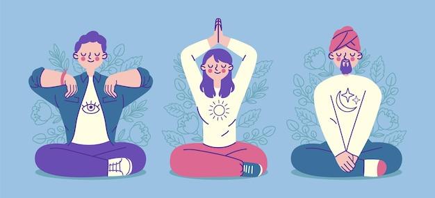 Colección de personas planas orgánicas meditando