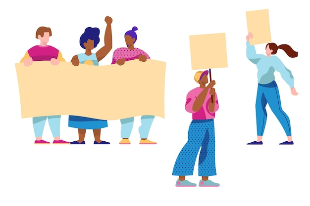 Colección de personas protestando