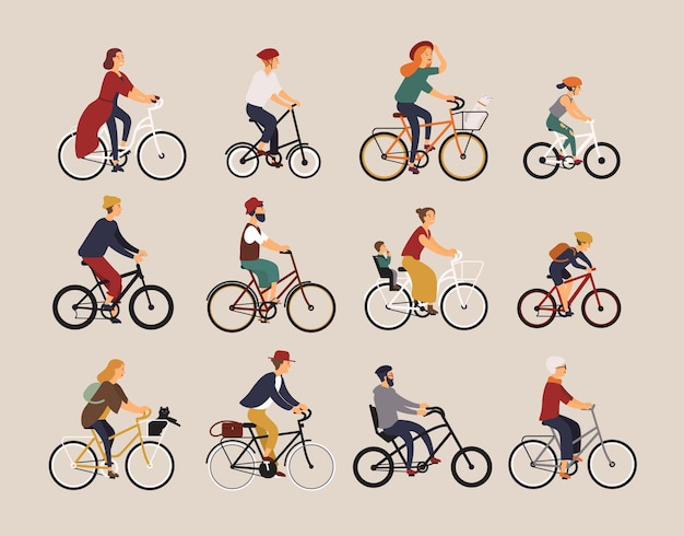 Colección de personas que andan en bicicletas de varios tipos: ciudad, bmx, híbrida, chopper, cruiser, de una sola velocidad, piñón fijo. conjunto de dibujos animados de hombres, mujeres y niños en bicicleta. ilustración de vector colorido.