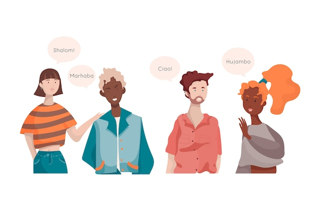 Colección de personas que hablan diferentes idiomas.