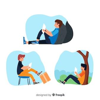 Colección de personas que leen libros diferentes