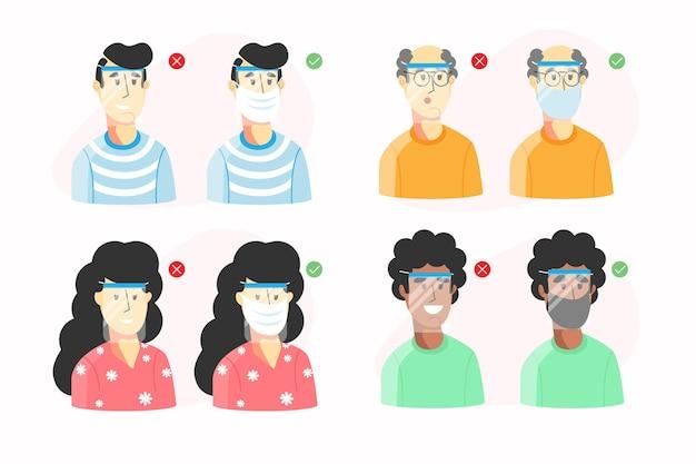 Colección de personas que usan careta y máscara