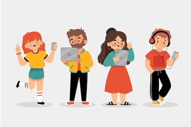 Colección de personas que utilizan diferentes dispositivos.