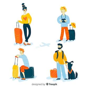 Colección de personas que viajan diseño dibujado a mano.