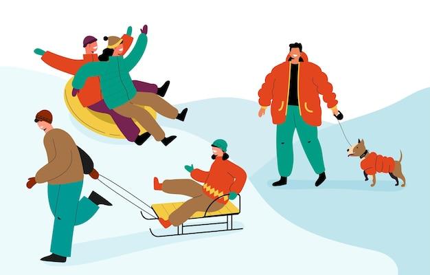 Colección de personas realizando actividades de invierno.
