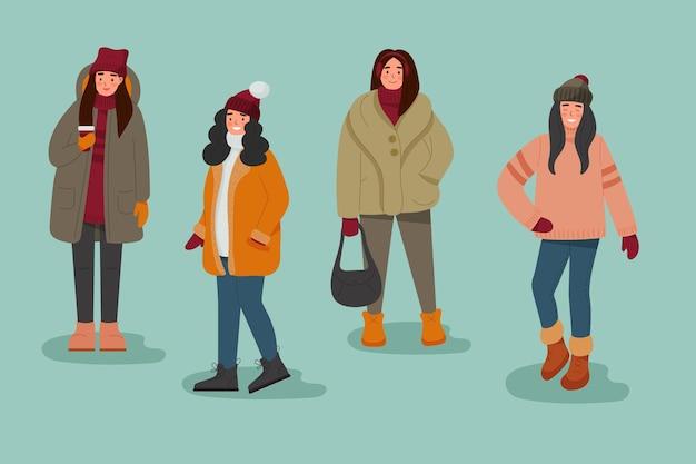 Colección de personas con ropa acogedora en invierno.