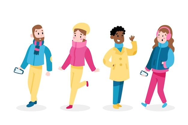 Colección de personas con ropa de invierno