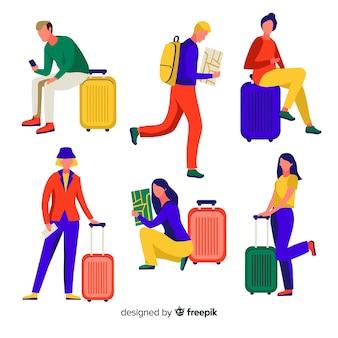 Colección de personas de viaje