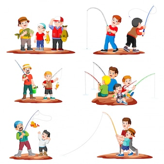 Colección pescador pesca con caña de pescar y niños pescando