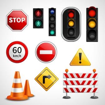 Colección de pictogramas de luces y señales de tráfico.