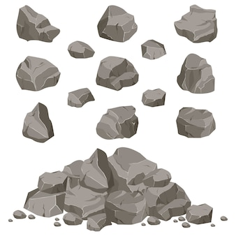 Colección de piedras de diversas formas. rocas y escombros de la montaña. un gran bloque de piedras. fragmento de piedra
