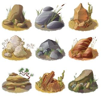 Colección de piedras minerales en el suelo