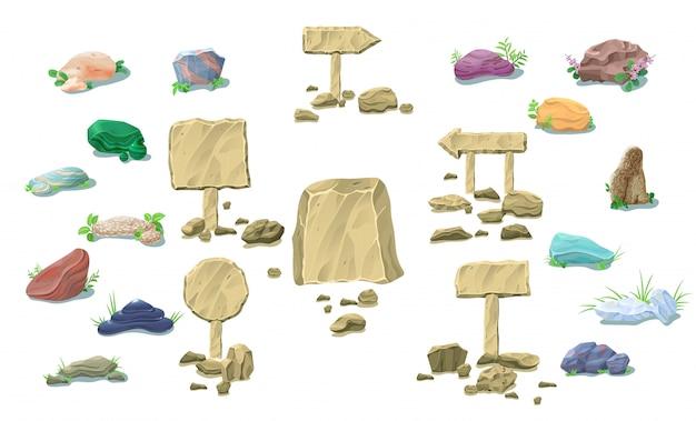 Colección de piedras naturales de dibujos animados