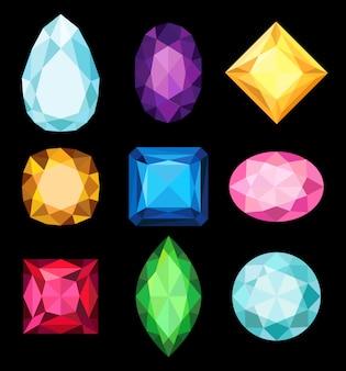 Colección de piedras preciosas, gemas de varias formas y colores ilustraciones sobre un fondo negro