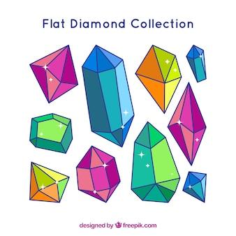 Colección de piedras preciosas irregulares en diseño plano