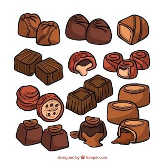 Colección de piezas de chocolate dibujadas a mano