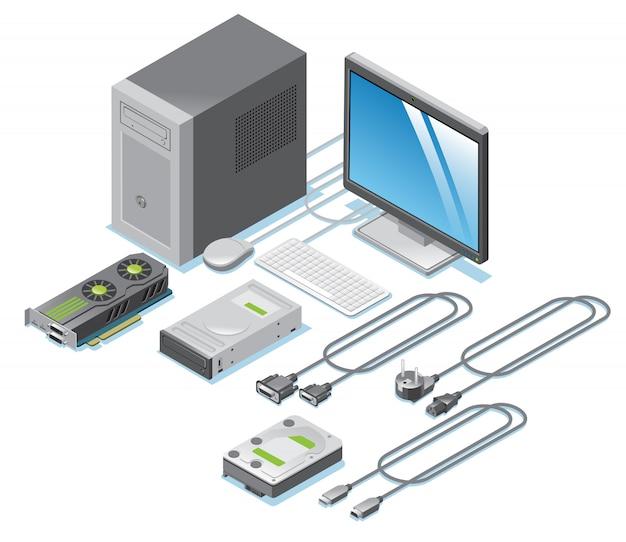 Colección de piezas de computadora isométrica con monitor, tarjeta de video, cables, cables, teclado, mouse, sistema, unidad, aislado