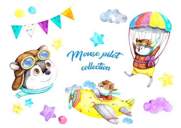 Colección piloto de mouse, romance, día de san valentín, símbolo, ilustración de acuarela