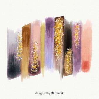 Colección de pinceladas de acuarela con brillantina